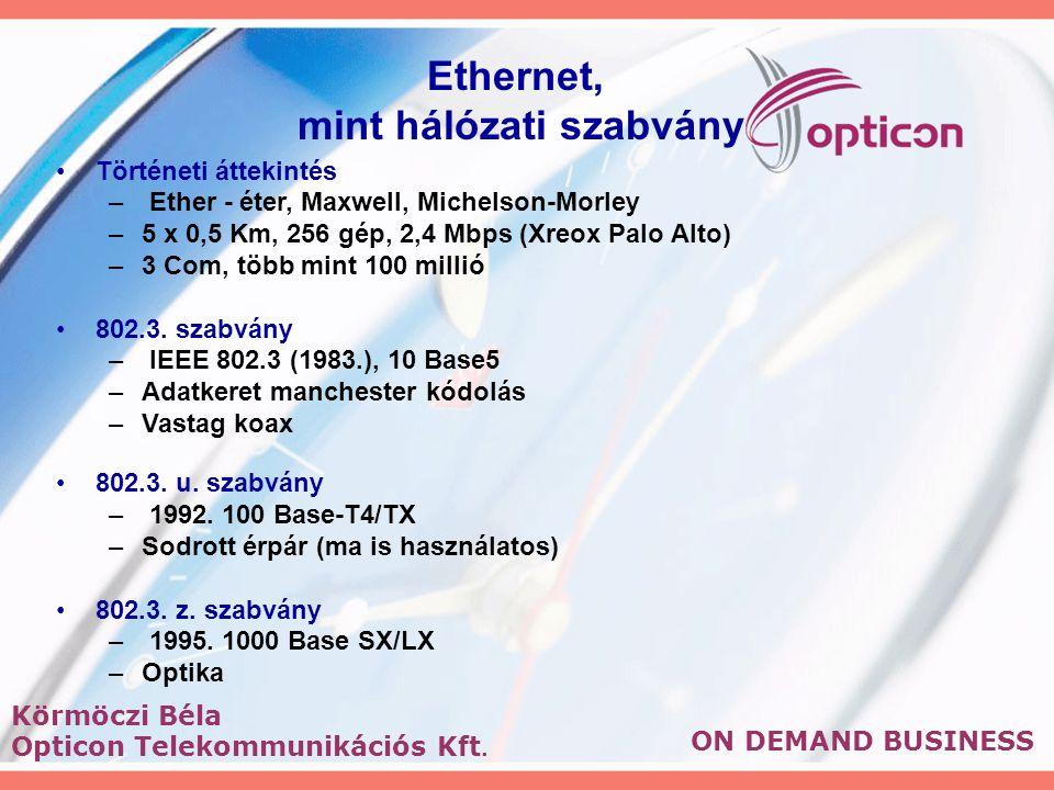 Ethernet, mint hálózati szabvány Történeti áttekintés – Ether - éter, Maxwell, Michelson-Morley –5 x 0,5 Km, 256 gép, 2,4 Mbps (Xreox Palo Alto) –3 Com, több mint 100 millió 802.3.