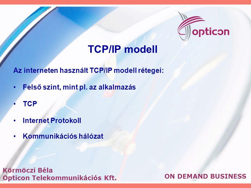 TCP/IP modell Az interneten használt TCP/IP modell rétegei: Felső szint, mint pl.