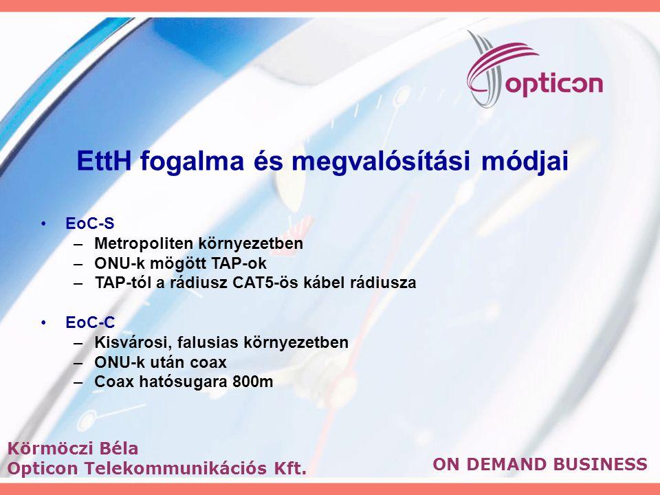 EttH fogalma és megvalósítási módjai EoC-S –Metropoliten környezetben –ONU-k mögött TAP-ok –TAP-tól a rádiusz CAT5-ös kábel rádiusza EoC-C –Kisvárosi, falusias környezetben –ONU-k után coax –Coax hatósugara 800m ON DEMAND BUSINESS Körmöczi Béla Opticon Telekommunikációs Kft.