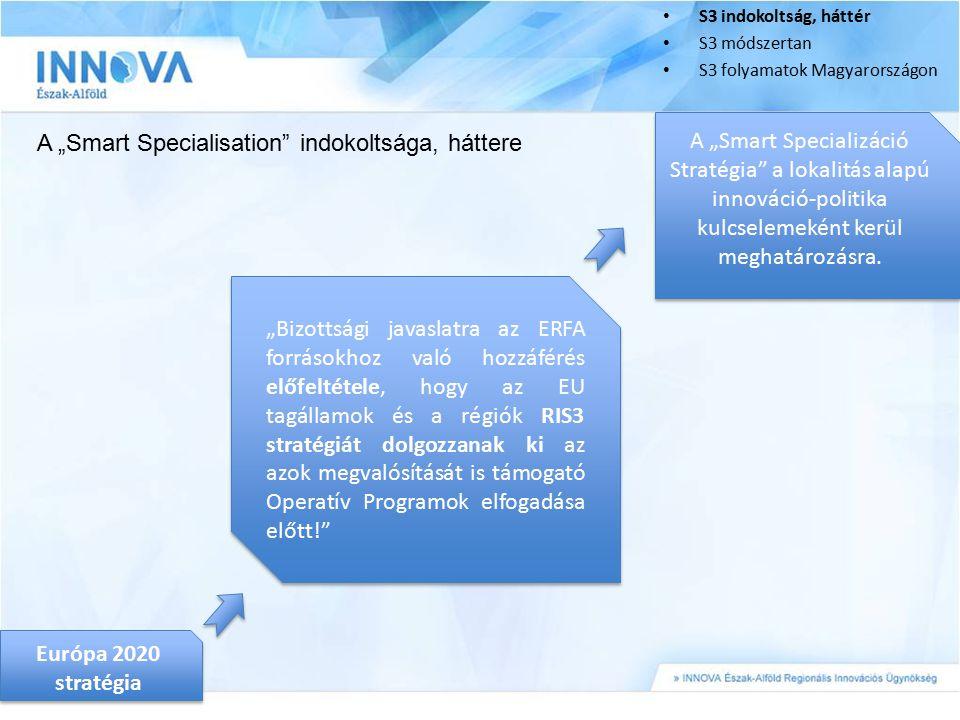 """S3 indokoltság, háttér S3 módszertan S3 folyamatok Magyarországon A """"Smart Specialisation"""" indokoltsága, háttere Európa 2020 stratégia """"Bizottsági jav"""
