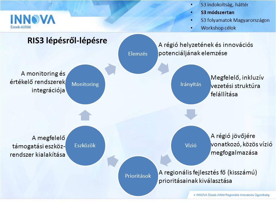 S3 indokoltság, háttér S3 módszertan S3 folyamatok Magyarországon Workshop célok ElemzésIrányításVízióPrioritásokEszközökMonitoring RIS3 lépésről-lépé