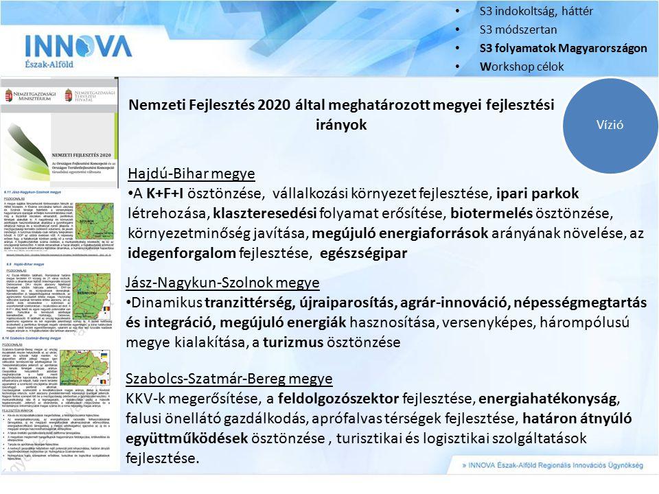 S3 indokoltság, háttér S3 módszertan S3 folyamatok Magyarországon Workshop célok Vízió Nemzeti Fejlesztés 2020 által meghatározott megyei fejlesztési