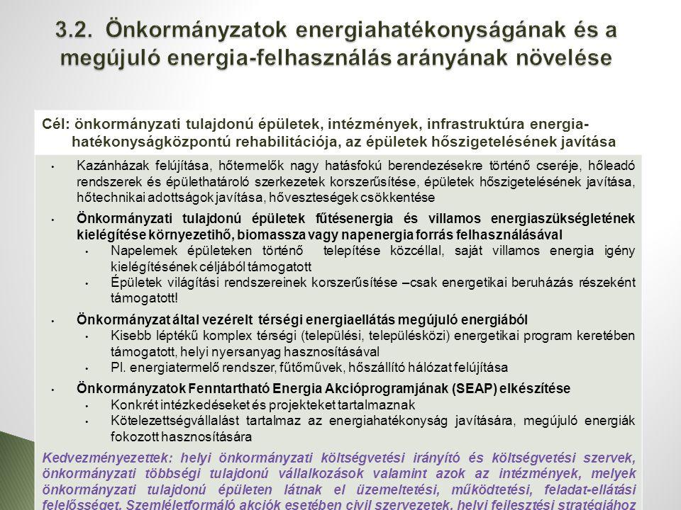 Cél: önkormányzati tulajdonú épületek, intézmények, infrastruktúra energia- hatékonyságközpontú rehabilitációja, az épületek hőszigetelésének javítása