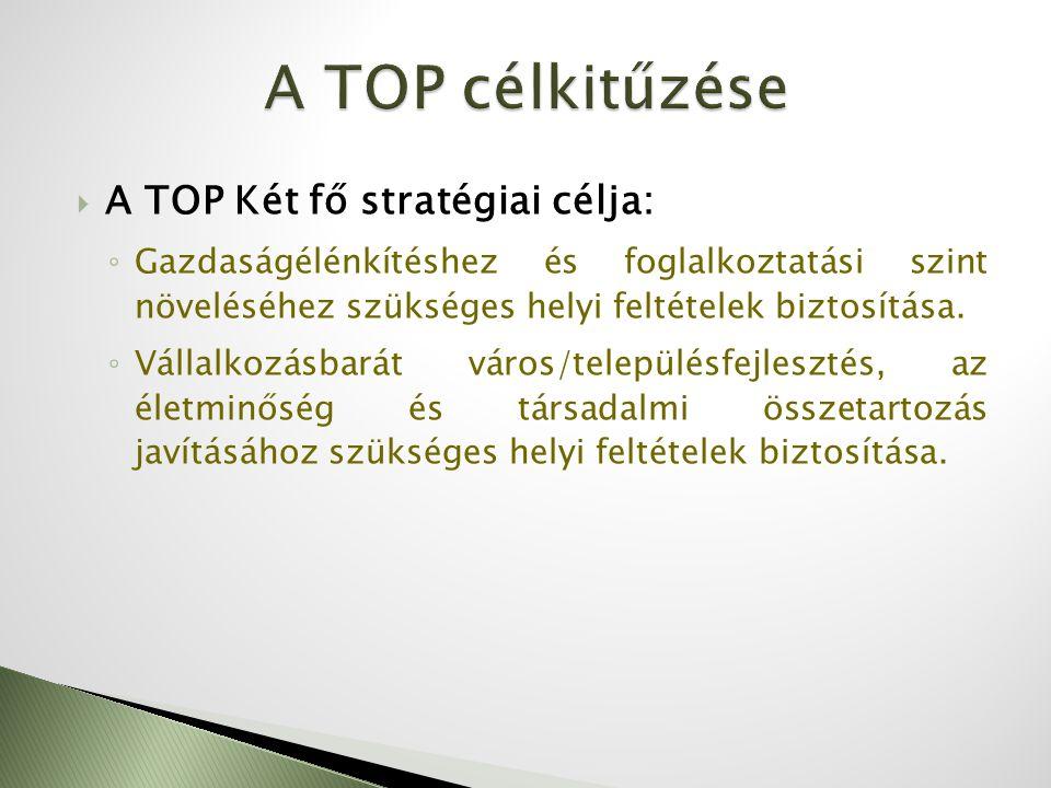  A TOP Két fő stratégiai célja: ◦ Gazdaságélénkítéshez és foglalkoztatási szint növeléséhez szükséges helyi feltételek biztosítása. ◦ Vállalkozásbará