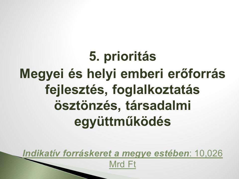 5. prioritás Megyei és helyi emberi erőforrás fejlesztés, foglalkoztatás ösztönzés, társadalmi együttműködés Indikatív forráskeret a megye estében: 10