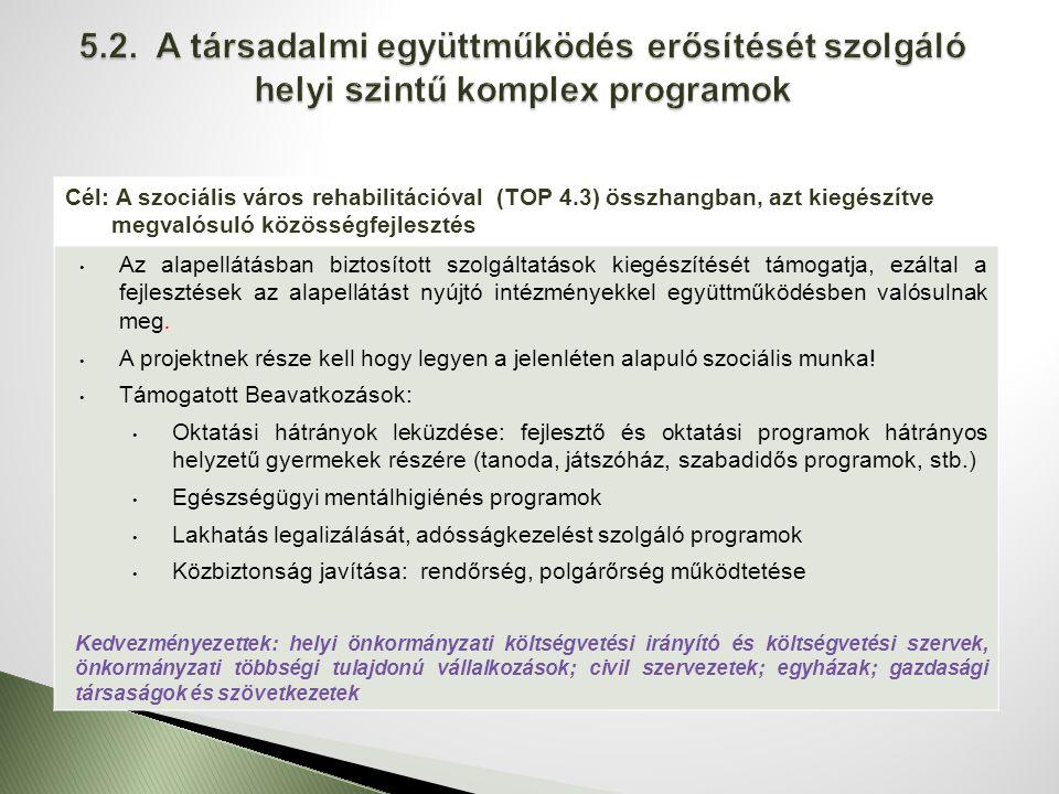 Cél: A szociális város rehabilitációval (TOP 4.3) összhangban, azt kiegészítve megvalósuló közösségfejlesztés Az alapellátásban biztosított szolgáltatások kiegészítését támogatja, ezáltal a fejlesztések az alapellátást nyújtó intézményekkel együttműködésben valósulnak meg.
