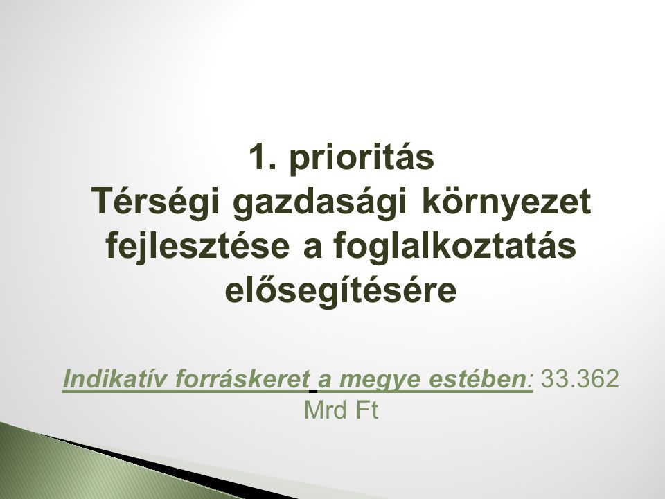 1. prioritás Térségi gazdasági környezet fejlesztése a foglalkoztatás elősegítésére Indikatív forráskeret a megye estében: 33.362 Mrd Ft