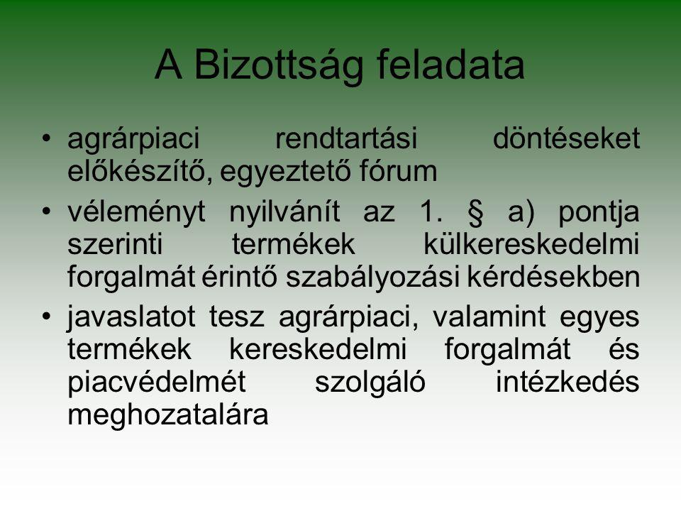 A Bizottság feladata agrárpiaci rendtartási döntéseket előkészítő, egyeztető fórum véleményt nyilvánít az 1. § a) pontja szerinti termékek külkeresked