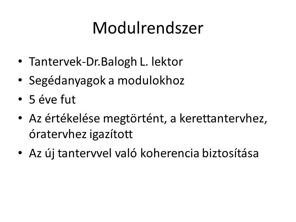 Modulrendszer Tantervek-Dr.Balogh L. lektor Segédanyagok a modulokhoz 5 éve fut Az értékelése megtörtént, a kerettantervhez, óratervhez igazított Az ú