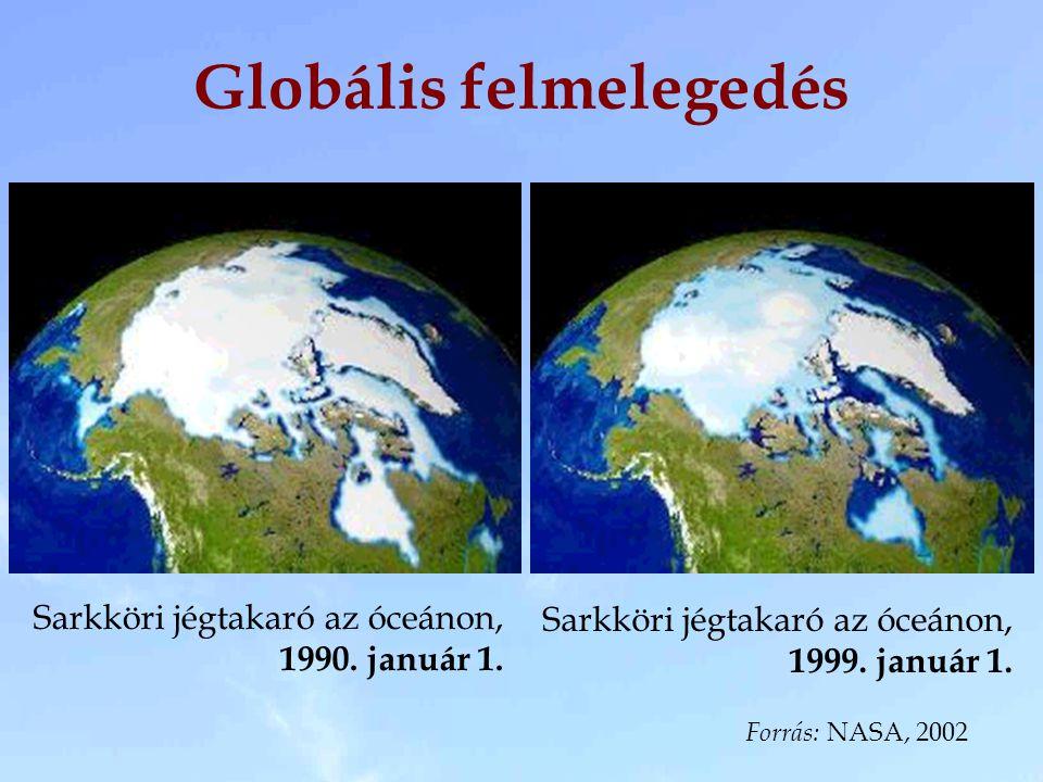 Sarkköri jégtakaró az óceánon, 1990. január 1. Forrás: NASA, 2002 Sarkköri jégtakaró az óceánon, 1999. január 1. Globális felmelegedés