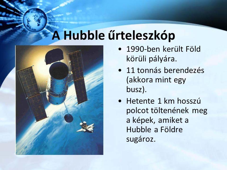 A Hubble űrteleszkóp 1990-ben került Föld körüli pályára. 11 tonnás berendezés (akkora mint egy busz). Hetente 1 km hosszú polcot töltenének meg a kép