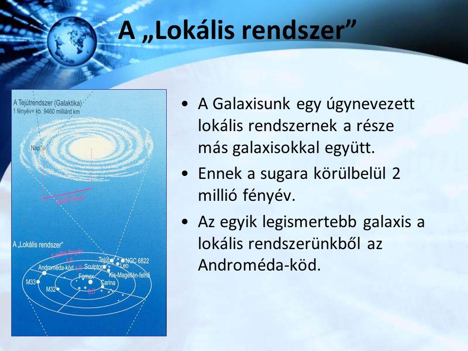 """A """"Lokális rendszer"""" A Galaxisunk egy úgynevezett lokális rendszernek a része más galaxisokkal együtt. Ennek a sugara körülbelül 2 millió fényév. Az e"""