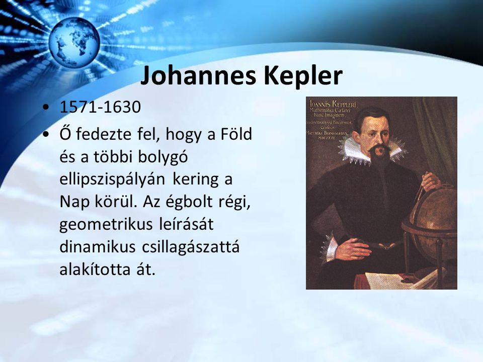 Johannes Kepler 1571-1630 Ő fedezte fel, hogy a Föld és a többi bolygó ellipszispályán kering a Nap körül. Az égbolt régi, geometrikus leírását dinami