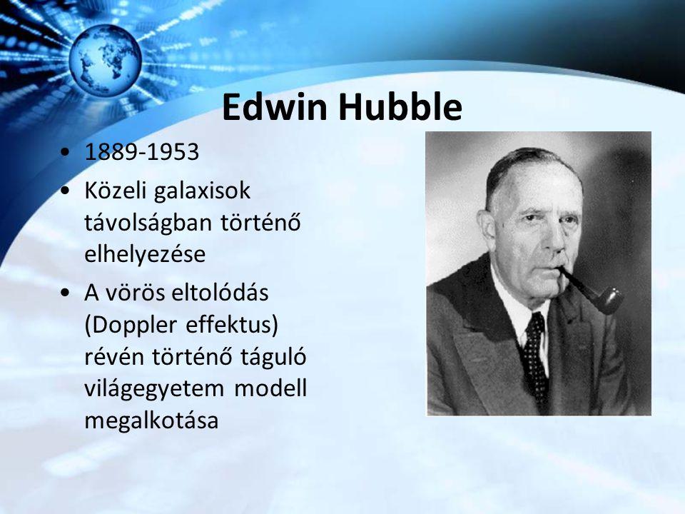 Edwin Hubble 1889-1953 Közeli galaxisok távolságban történő elhelyezése A vörös eltolódás (Doppler effektus) révén történő táguló világegyetem modell