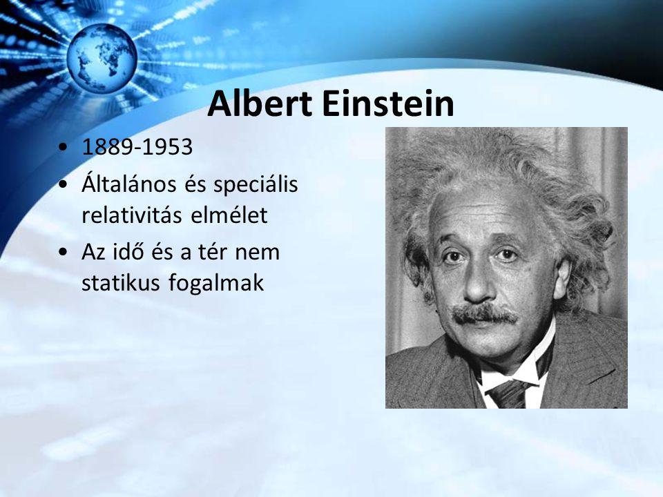 Albert Einstein 1889-1953 Általános és speciális relativitás elmélet Az idő és a tér nem statikus fogalmak