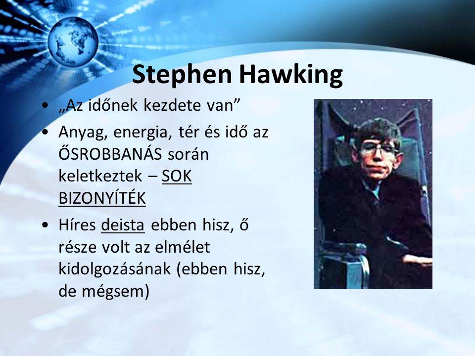 """Stephen Hawking """"Az időnek kezdete van"""" Anyag, energia, tér és idő az ŐSROBBANÁS során keletkeztek – SOK BIZONYÍTÉK Híres deista ebben hisz, ő része v"""