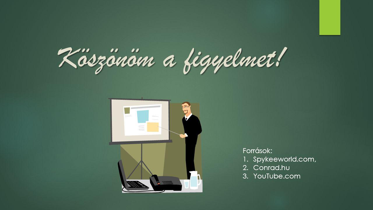 Köszönöm a figyelmet! Források: 1.Spykeeworld.com, 2.Conrad.hu 3.YouTube.com