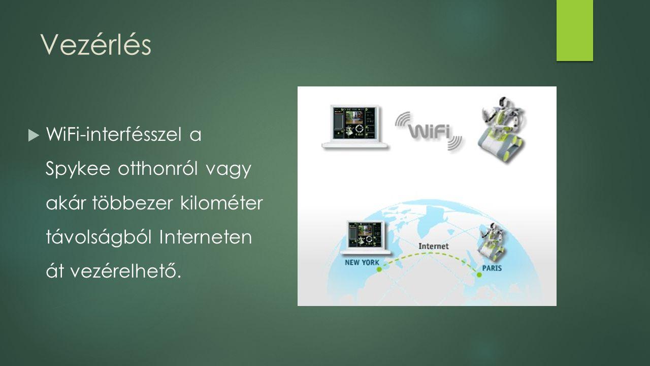 Vezérlés  WiFi-interfésszel a Spykee otthonról vagy akár többezer kilométer távolságból Interneten át vezérelhető.