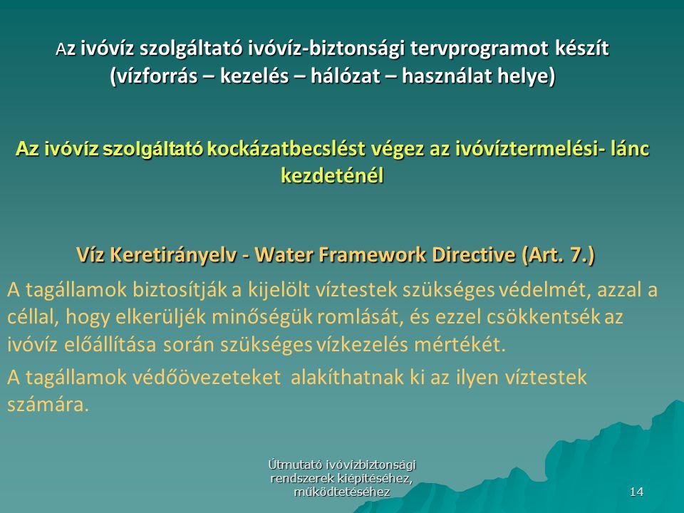 Útmutató ivóvízbiztonsági rendszerek kiépítéséhez, működtetéséhez 14 A z ivóvíz szolgáltató ivóvíz-biztonsági tervprogramot készít (vízforrás – kezelé