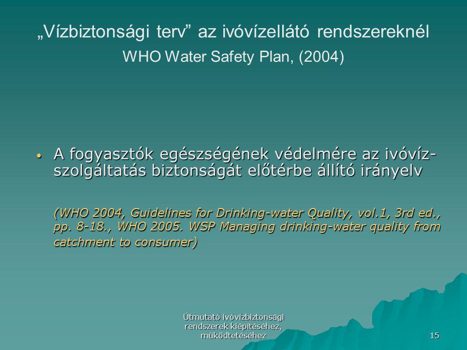 """Útmutató ivóvízbiztonsági rendszerek kiépítéséhez, működtetéséhez 15 """"Vízbiztonsági terv"""" az ivóvízellátó rendszereknél WHO Water Safety Plan, (2004)"""