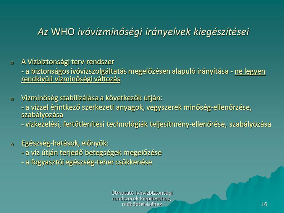 Útmutató ivóvízbiztonsági rendszerek kiépítéséhez, működtetéséhez 16 Az WHO ivóvízminőségi irányelvek kiegészítései Az WHO ivóvízminőségi irányelvek k