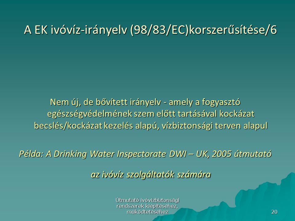 Útmutató ivóvízbiztonsági rendszerek kiépítéséhez, működtetéséhez 20 A EK ivóvíz-irányelv (98/83/EC)korszerűsítése/6 Nem új, de bővített irányelv - am