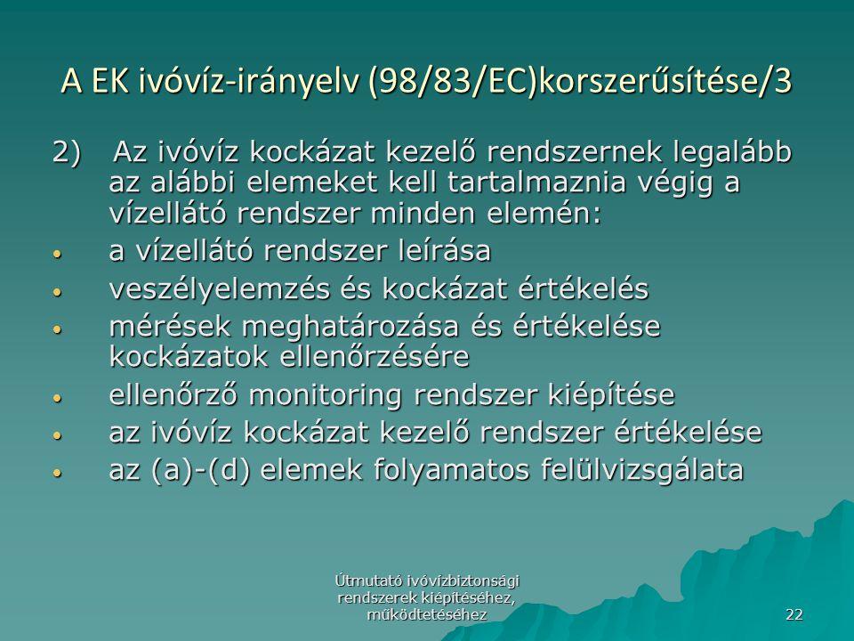 Útmutató ivóvízbiztonsági rendszerek kiépítéséhez, működtetéséhez 22 A EK ivóvíz-irányelv (98/83/EC)korszerűsítése/3 2) Az ivóvíz kockázat kezelő rend