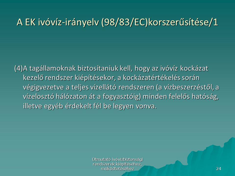 Útmutató ivóvízbiztonsági rendszerek kiépítéséhez, működtetéséhez 24 A EK ivóvíz-irányelv (98/83/EC)korszerűsítése/1 (4)A tagállamoknak biztosítaniuk