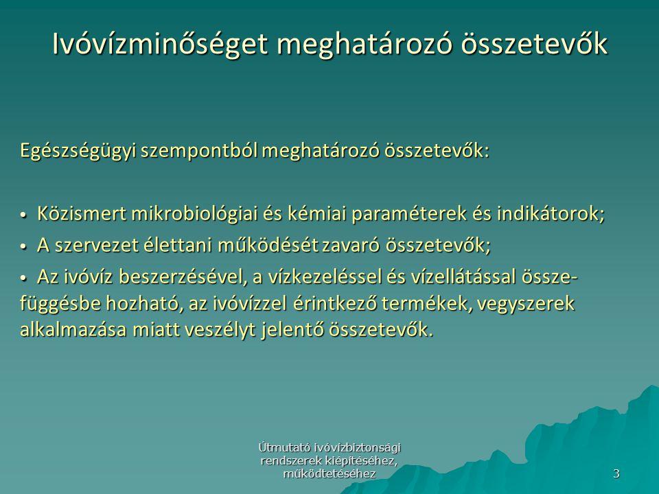 Útmutató ivóvízbiztonsági rendszerek kiépítéséhez, működtetéséhez 24 A EK ivóvíz-irányelv (98/83/EC)korszerűsítése/1 (4)A tagállamoknak biztosítaniuk kell, hogy az ivóvíz kockázat kezelő rendszer kiépítésekor, a kockázatértékelés során végigvezetve a teljes vízellátó rendszeren (a vízbeszerzéstől, a vízelosztó hálózaton át a fogyasztóig) minden felelős hatóság, illetve egyéb érdekelt fél be legyen vonva.