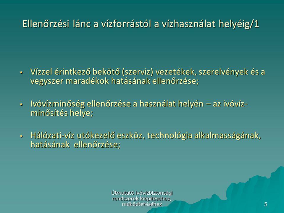Útmutató ivóvízbiztonsági rendszerek kiépítéséhez, működtetéséhez 6 Az ivóvíz kezeléssel, vízellátó rendszerrel összefüggésbe hozható vízszennyezők Vízkezelés vegyszerei (oxidáló, derítő és segédderítő szerek) Vízkezelés vegyszerei (oxidáló, derítő és segédderítő szerek) Szűrőanyagok; Szűrőanyagok; Fertőtlenítés vegyszerei; Fertőtlenítés vegyszerei; Szerves-anyag és fém-beoldódás, ill.