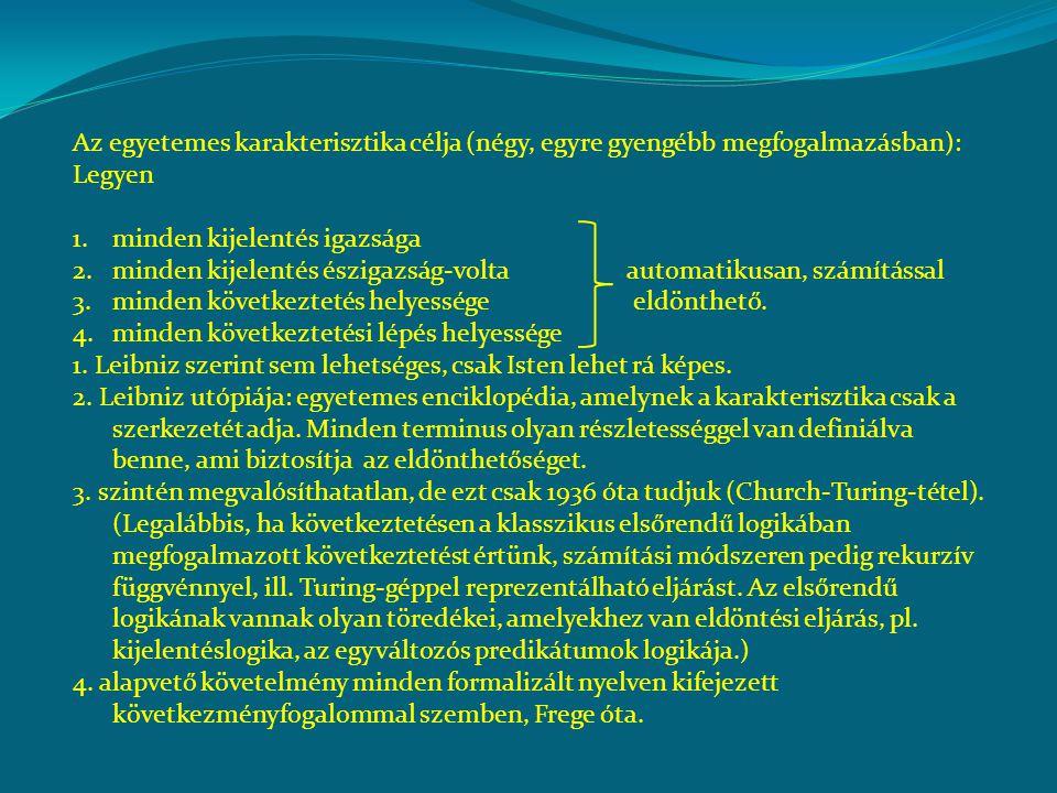 Nyelv és kalkulus, elvben: 1.Elemi terminusok (karakterek) rendszere.