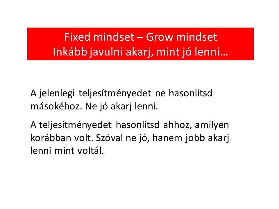 Fixed mindset – Grow mindset Inkább javulni akarj, mint jó lenni… A jelenlegi teljesítményedet ne hasonlítsd másokéhoz.