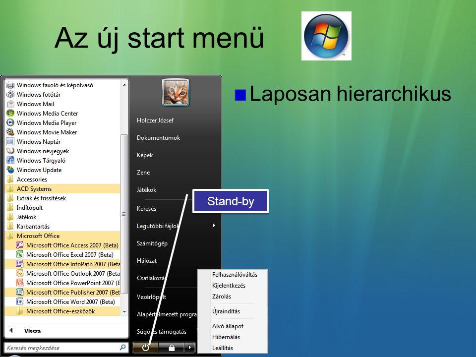 Az új start menü Laposan hierarchikus Stand-by