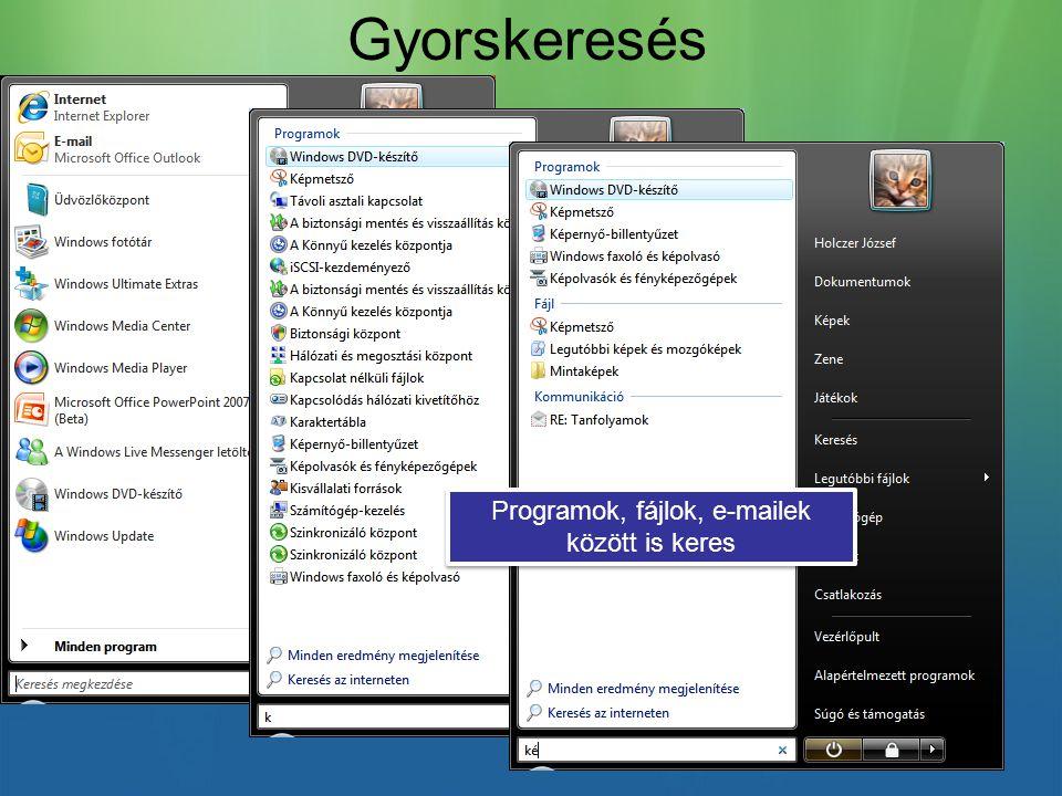 Gyorskeresés Programok, fájlok, e-mailek között is keres