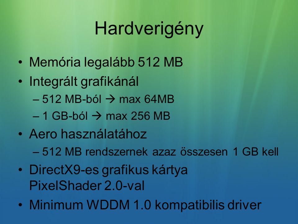 Hardverigény Memória legalább 512 MB Integrált grafikánál –512 MB-ból  max 64MB –1 GB-ból  max 256 MB Aero használatához –512 MB rendszernek azaz összesen 1 GB kell DirectX9-es grafikus kártya PixelShader 2.0-val Minimum WDDM 1.0 kompatibilis driver
