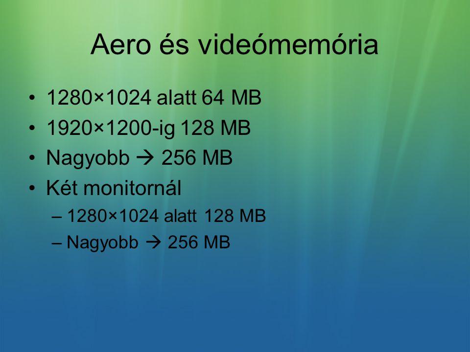Aero és videómemória 1280×1024 alatt 64 MB 1920×1200-ig 128 MB Nagyobb  256 MB Két monitornál –1280×1024 alatt 128 MB –Nagyobb  256 MB