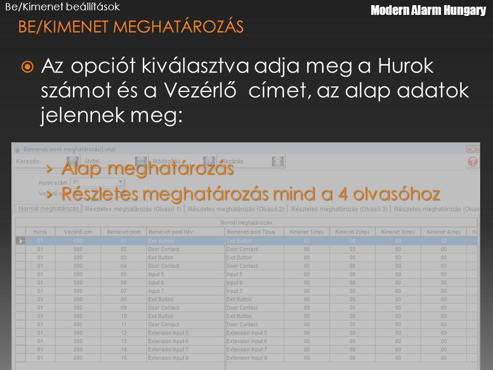 Be/Kimenet beállítások  Az opciót kiválasztva adja meg a Hurok számot és a Vezérlő címet, az alap adatok jelennek meg: › Alap meghatározás › Részletes meghatározás mind a 4 olvasóhoz