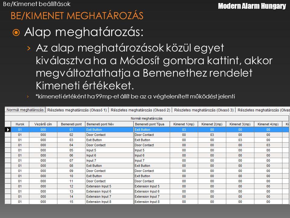 Modern Alarm Hungary  Alap meghatározás: › Az alap meghatározások közül egyet kiválasztva ha a Módosít gombra kattint, akkor megváltoztathatja a Bemenethez rendelet Kimeneti értékeket.