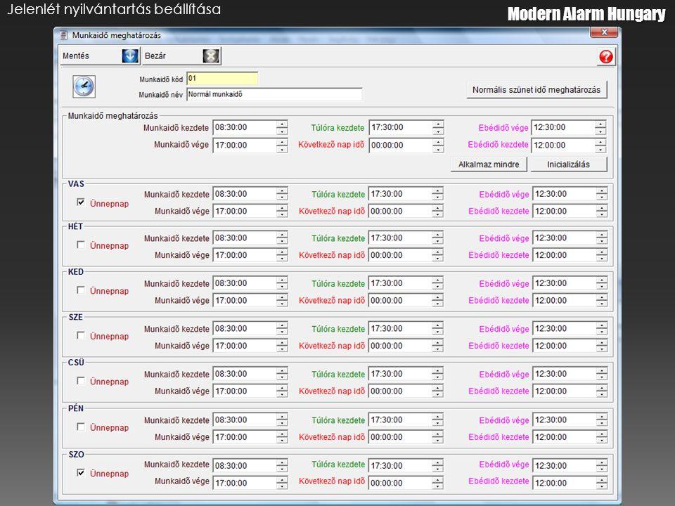 Modern Alarm Hungary Jelenlét nyilvántartás beállítása