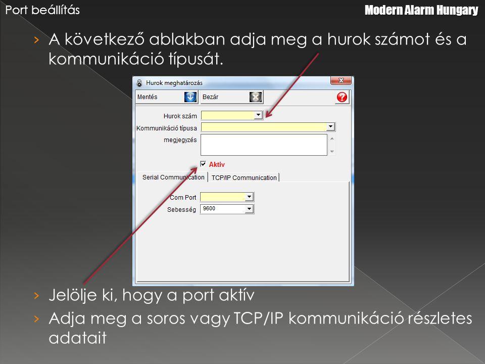 › A következő ablakban adja meg a hurok számot és a kommunikáció típusát.