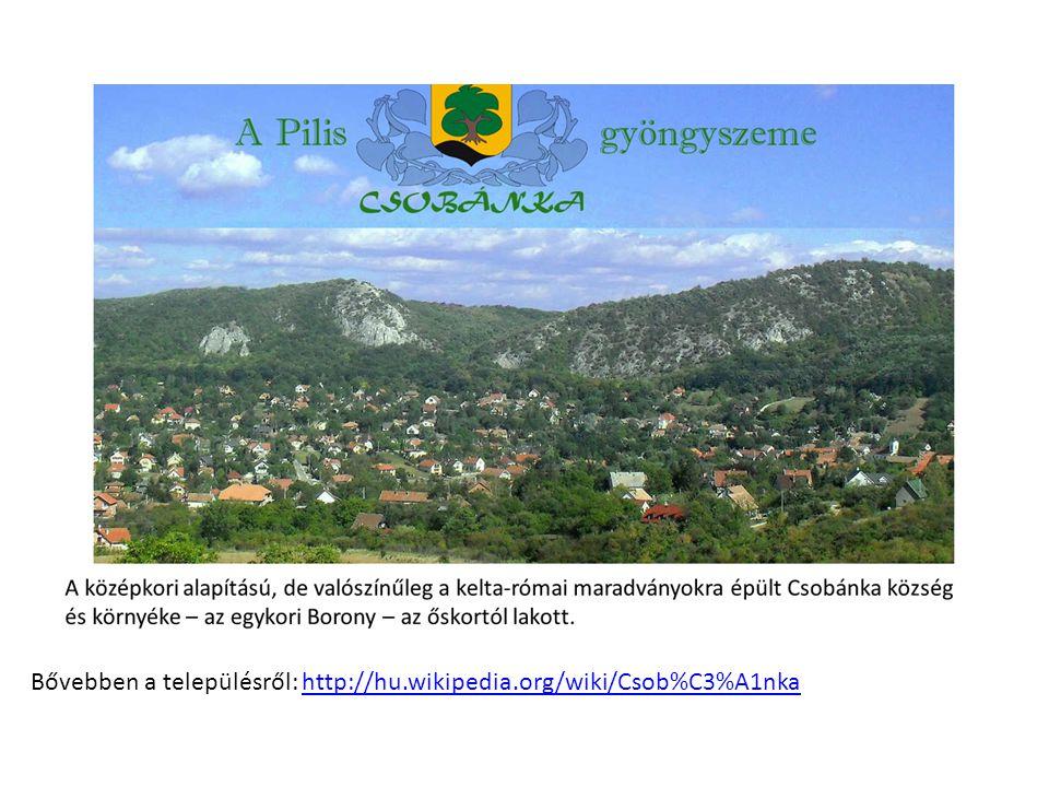 Bővebben a településről: http://hu.wikipedia.org/wiki/Csob%C3%A1nkahttp://hu.wikipedia.org/wiki/Csob%C3%A1nka