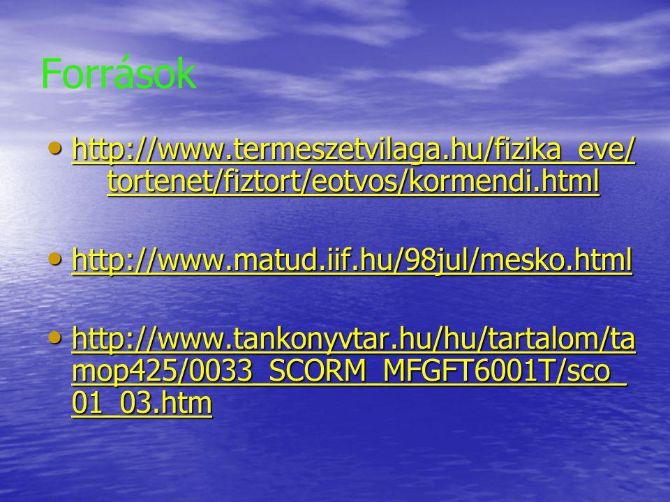 Források http://www.termeszetvilaga.hu/fizika_eve/ tortenet/fiztort/eotvos/kormendi.html http://www.termeszetvilaga.hu/fizika_eve/ tortenet/fiztort/eo