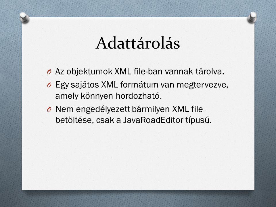Adattárolás O Az objektumok XML file-ban vannak tárolva.