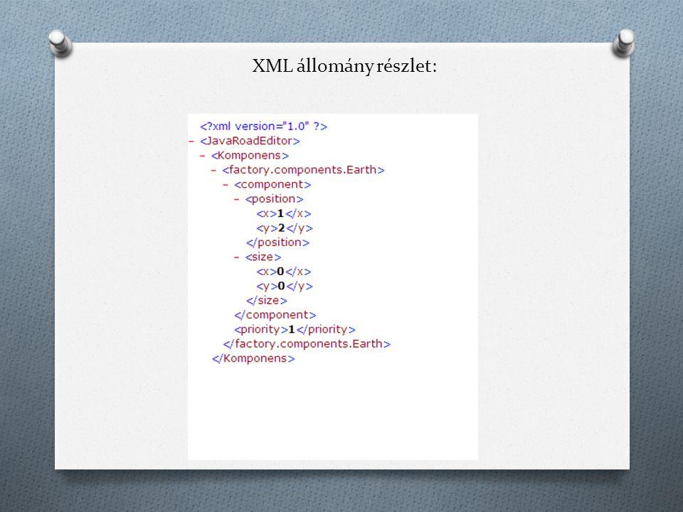 XML állomány részlet: