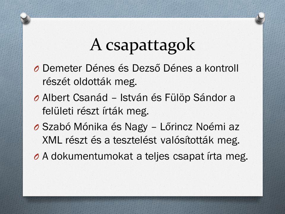 A csapattagok O Demeter Dénes és Dezső Dénes a kontroll részét oldották meg.