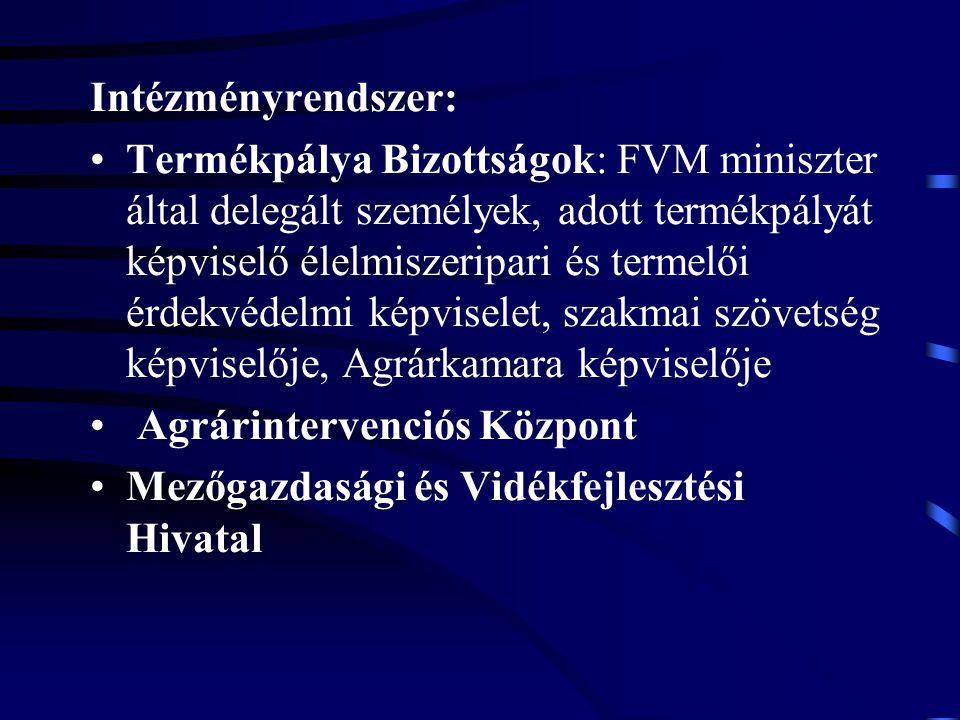 Intézményrendszer: Termékpálya Bizottságok: FVM miniszter által delegált személyek, adott termékpályát képviselő élelmiszeripari és termelői érdekvéde