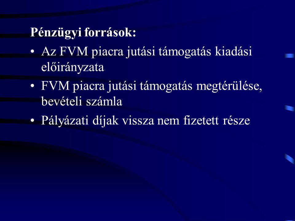 Pénzügyi források: Az FVM piacra jutási támogatás kiadási előirányzata FVM piacra jutási támogatás megtérülése, bevételi számla Pályázati díjak vissza