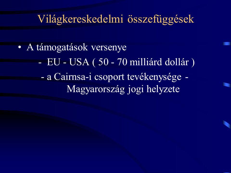 Világkereskedelmi összefüggések A támogatások versenye - EU - USA ( 50 - 70 milliárd dollár ) - a Cairnsa-i csoport tevékenysége - Magyarország jogi h