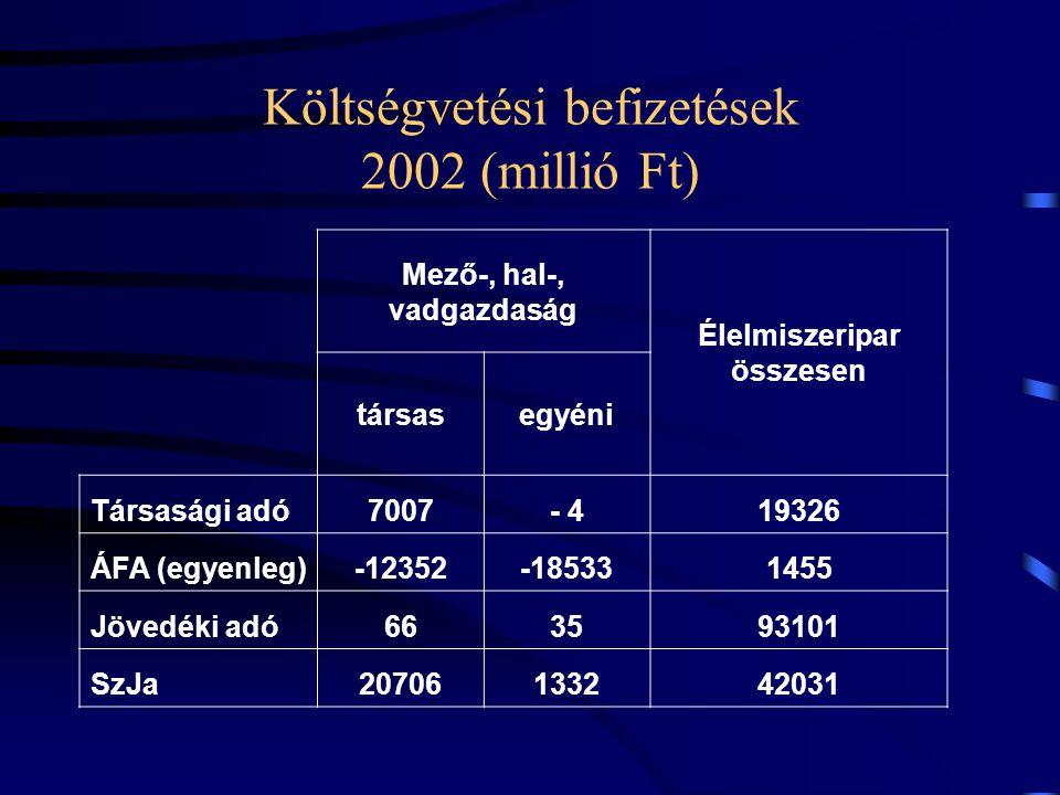 Költségvetési befizetések 2002 (millió Ft) Mező-, hal-, vadgazdaság Élelmiszeripar összesen társasegyéni Társasági adó7007- 419326 ÁFA (egyenleg)-1235