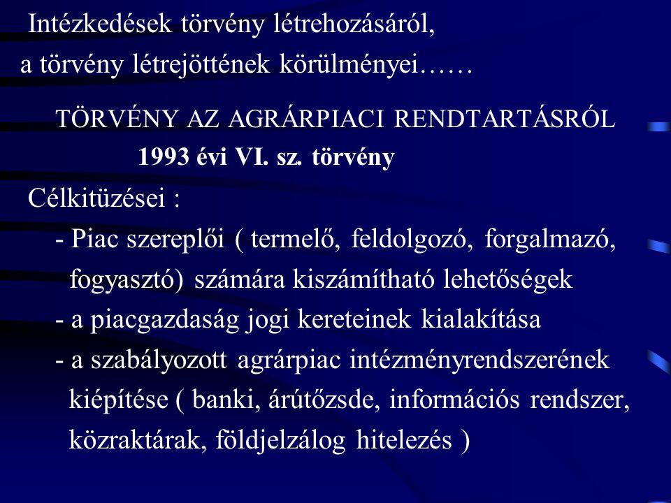 Intézkedések törvény létrehozásáról, a törvény létrejöttének körülményei…… TÖRVÉNY AZ AGRÁRPIACI RENDTARTÁSRÓL 1993 évi VI. sz. törvény Célkitüzései :